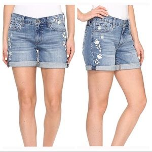 "Lucky Brand ""The Roll Up"" Embroidered Denim Shorts"